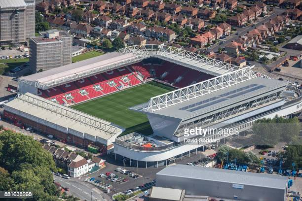 Aerial photograph of Ashton Gate Stadium home of Bristol City Football Club on August 15th 2017. Located on the south western edge of Bristol, on...