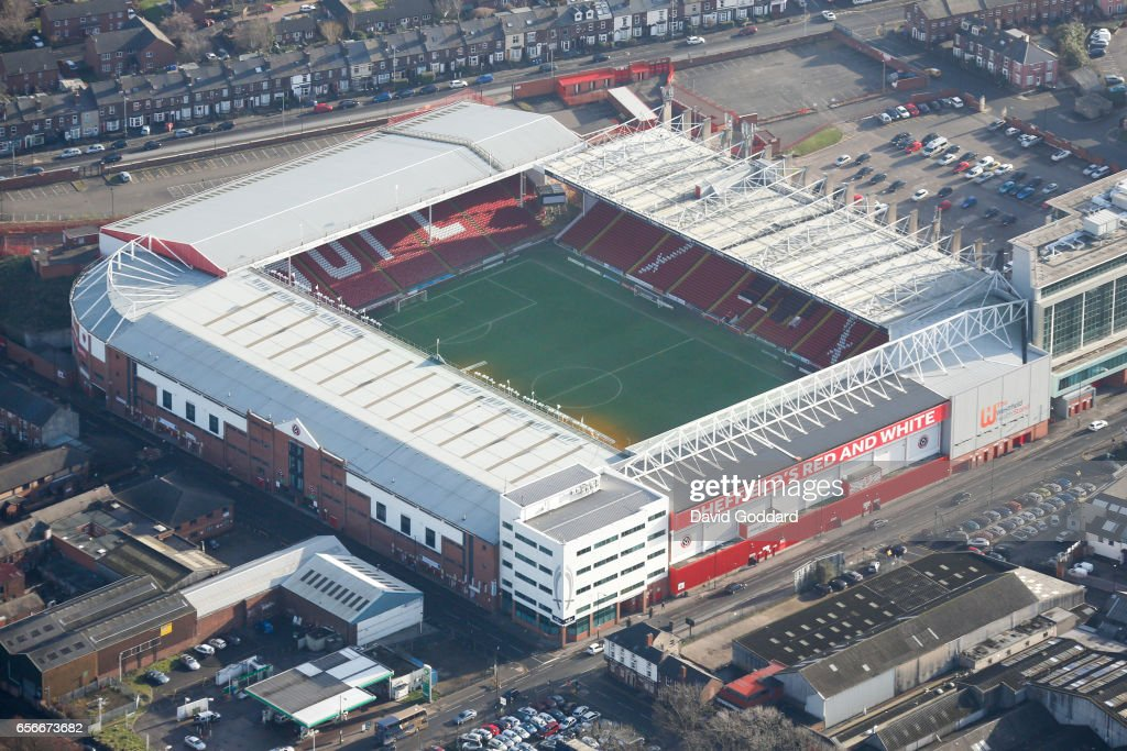 Aerial photograph of Sheffield United's Branwell Lane Stadium, South Yorkshire : News Photo