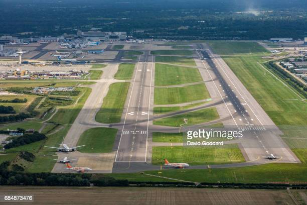 Aerial photograph of Britain's second busiest airfield, Gatwick Airport. Located to the south-west of Horley, 2 miles north of Crawley on August 27,...
