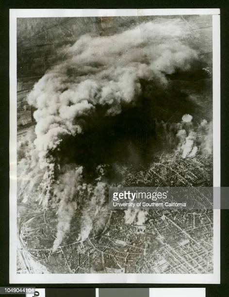 Aerial photograph of Brunswick Germany after being bombed by the US bombers '9930313Watch your credit International News Photo from OWI | Slug | US...