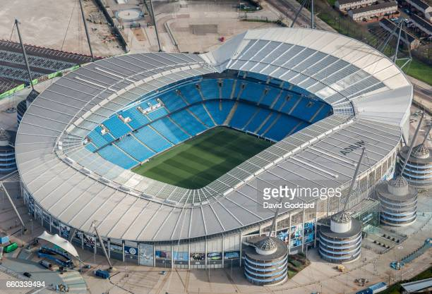 MANCHESTER ENGLAND MARCH 26 Aerial photograph of City of Manchester Stadium Home to Manchester City Football Club on March 26 2017 Built in 2002 this...