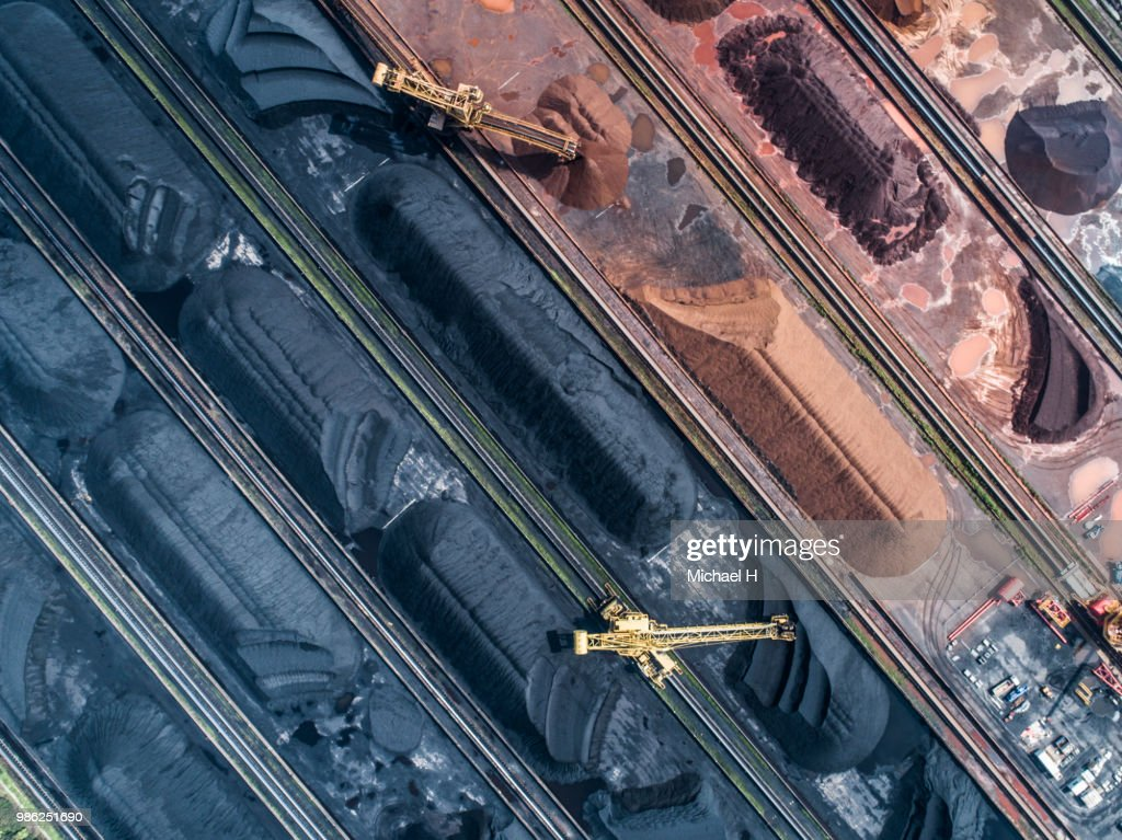 Aerial photograph of construction site and sand mountains. : Stock Photo