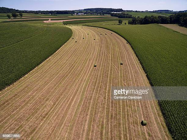 aerial photograph of contour farming in pa - lancaster county pennsylvania stock pictures, royalty-free photos & images