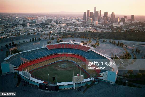 Aerial photograph of Dodger Stadium home ballpark of Major League Baseball's Los Angeles Dodgers team since 1962 and located adjacent to Downtown Los...