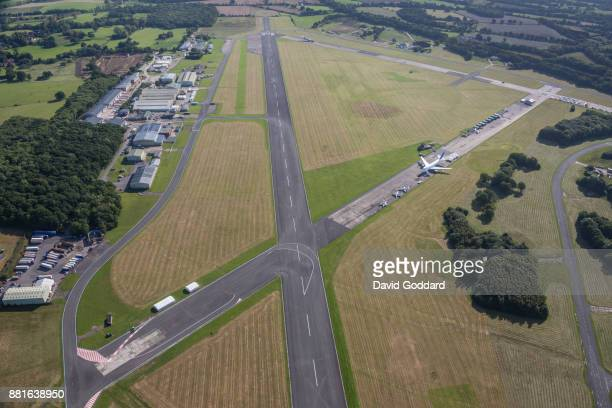 Aerial photograph of Dunsfold Aerodrome, made famous by the TV program Top Gear, the location for its track and studio on August 20th 2017. This old...