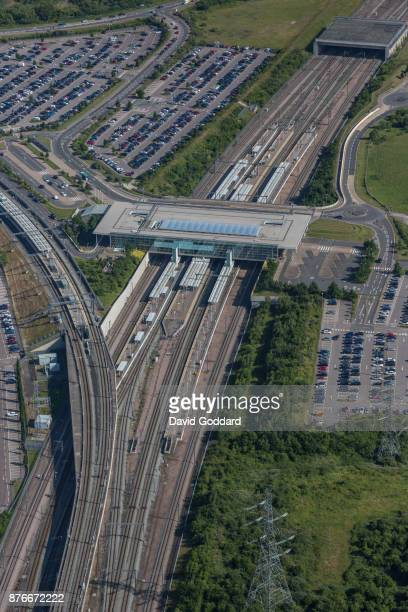 KINGDOM JUNE 2017 Aerial photograph of Ebbsfleet International railway station on June 14th 2017 Part of the Thames Gateway urban regeneration this...