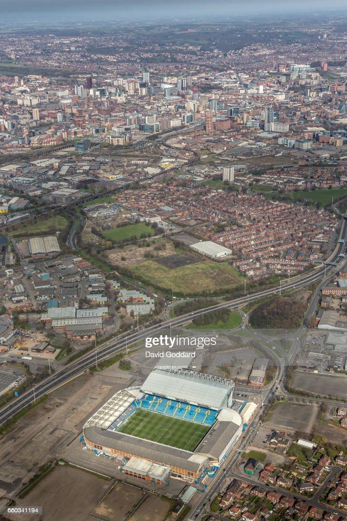Aerial photograph of Elland Road Stadium, home of Leeds United Football Club. : News Photo