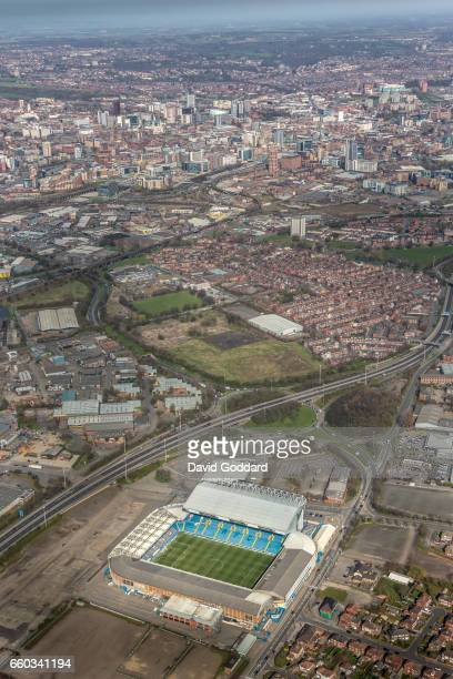 MARCH 26 Aerial photograph of Elland Road Stadium home of Leeds United Football Club and Leeds City Centre West Yorkshire on March 26 2017 Located 2...