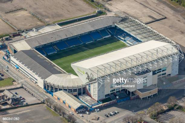 MARCH 26 Aerial photograph of Elland Road Stadium home of Leeds United Football Club West Yorkshire on March 26 2017 Located 2 miles south west of...