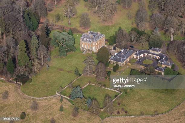 ENGLAND FEBRUARY 2018 Aerial Photograph of Eydon Hall Northamptonshire on February 16th 2018 This grade 1 listed building built in the Palladian...