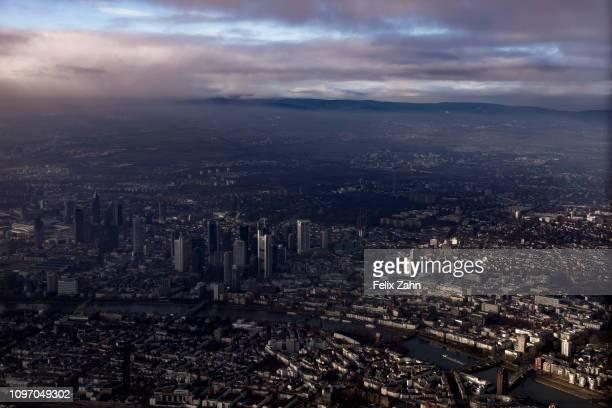 Aerial photograph of Frankfurt am Main on February 05 2019 in Frankfurt am Main Germany