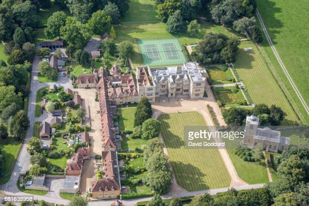 Aerial photograph of Gayhurst House on August 13th, 2017. This Elizabethan country house dates back to 1597 it is located 3 miles North of Milton...