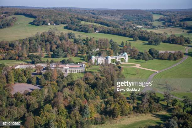 KINGDOM OCTOBER 20 Aerial photograph of Goodwood House the home of the Duke of Richmond on October 20 2010 This grade 1 listed Gothic styled country...