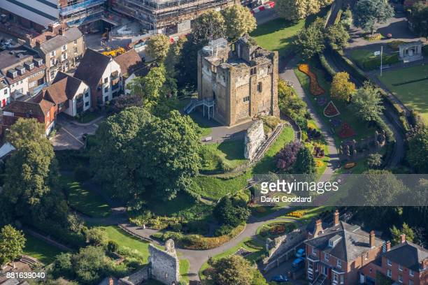 KINGDOM AUGUST 2017 Aerial photograph of Guildford Castle on August 20th 2017 This Motte and bailey castle dates back to the 11th century it is...