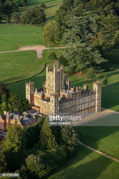 Aerial photograph of Highclere Castle, the country seat of the Earl of Carnarvon on September 05 2010. This Jacobean style stately home was designed...