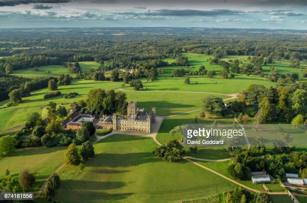 Aerial photograph of Highclere Castle, the offical residence of the Earl of Carnarvon on April 07, 2015. This Jacobean style stately home was...