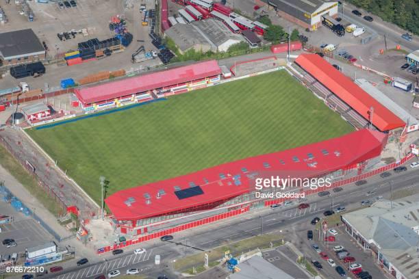 KINGDOM JULY 2017 Aerial photograph of Kuflink Stadium Northfleet home to Ebbsfleet United Football Club on June 14th 2017