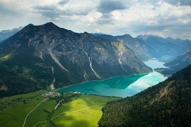 aerial photograph of lake plansee, tirol, austria, alps