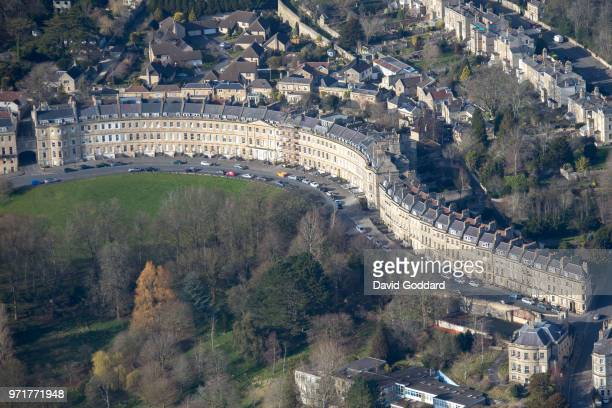 SOMERSET ENGLAND MARCH 2017 Aerial Photograph of Lansdown Crescent on March 22nd 2017 This georgian style building dates back to 1789 it is located...