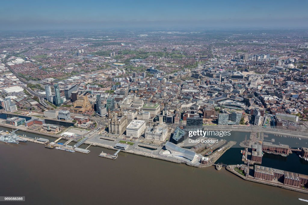 KINGDOM - MAY, 2018  Aerial photograph of Liverpool City Centre on