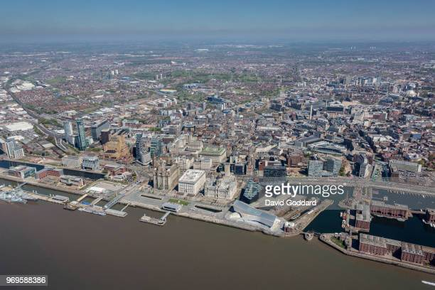 KINGDOM MAY 2018 Aerial photograph of Liverpool City Centre on May 5th 2018 Located on the eastern banks of the River Mersey 26 miles west of...
