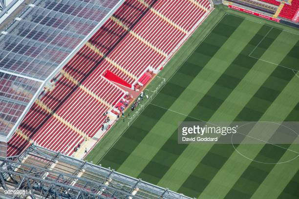 Aerial photograph of Liverpool football club's home ground - Anfield, on May 5th this iconic ground was built in 1892. It is located on the southern...