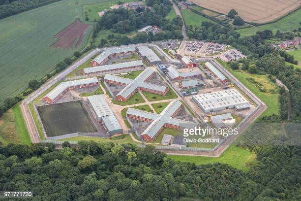Aerial photograph of Lowdham Grange Prison on July 25th 2017. This category B prison is located just to the west of Lowdham, 6 miles north east of...