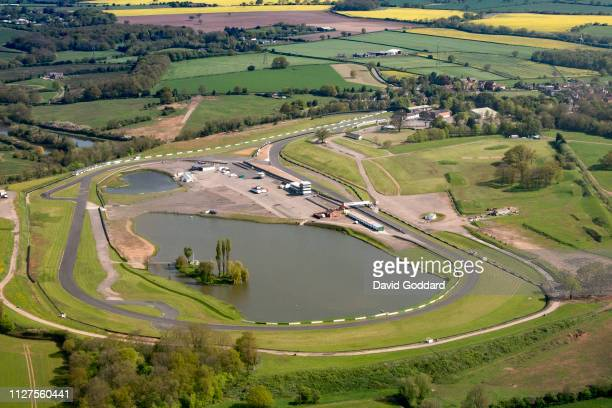 KINGDOM MAY 2018 Aerial Photograph of Mallory Park Motor Racing Circuit located on the western side of the village Kirkby Mallory and 8 miles south...