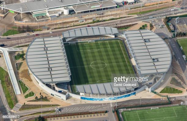 MANCHESTER ENGLAND MARCH 26 Aerial photograph of Manchester city's Academy Stadium on March 26 2017 Located within the 80 acre Manchester city Etihad...