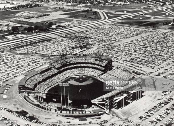 Aerial photograph of Metropolitan Stadium home American League Minnesota Twins from 19611981 in the Bloomington Minnesota