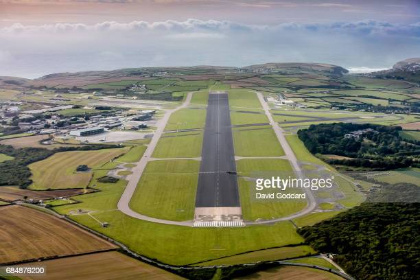 Aerial photograph of Newquay airport. Located 3 miles North East of the town of Newquay on September 19 2009.