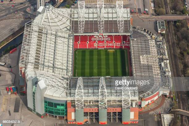 MANCHESTER ENGLAND MARCH 26 Aerial photograph of Old Trafford Home of Manchester United football club on March 26 2017 This Stadium nicknamed the...