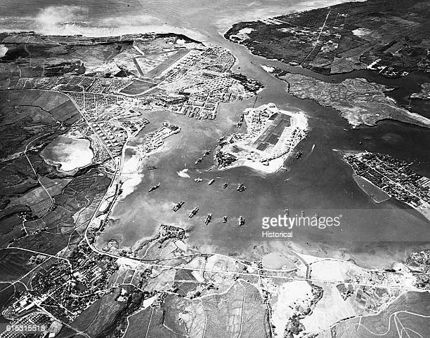 Aerial photograph of Pearl Harbor Honolulu Hawaii before the Japanese attacked on December 7 1941