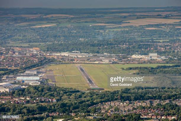 Aerial photograph of Southhampton International Airport looking west, it is located between Eastleigh and Southampton, on the western bank of the...