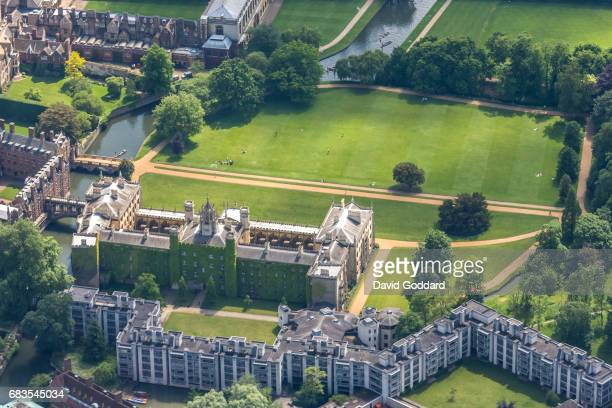 MAY 23 Aerial photograph of St John's College Cambridge on May 23 2012 Also known as the College of St John the Evangelist of the University of...