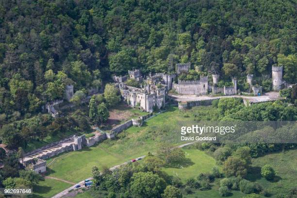 Aerial Photograph of the 19th century Gwrych Castle on the May 12th, 2018. Located on the North Wales Coastline near Abergele, 24 miles south west of...