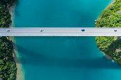 Aerial photograph of the beautiful sea and bridge.