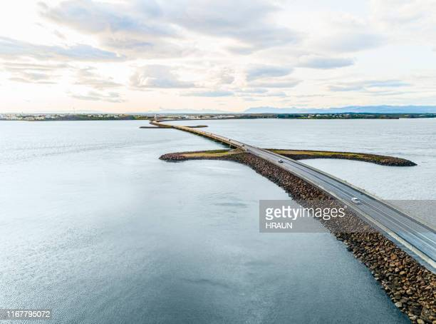 aerial photograph of the beautiful sea and bridge - one direction tour stock pictures, royalty-free photos & images