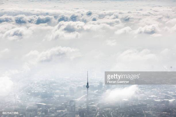 Aerial photograph of the Berlin TV Tower on March 12 2017 in Berlin Germany