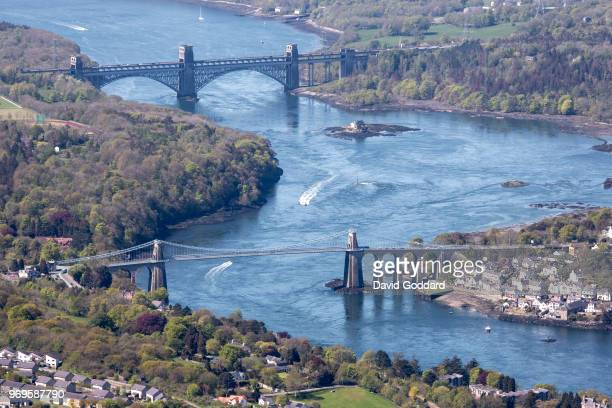 KINGDOM MAY 2018 Aerial Photograph of the Britannia Bridge spanning the Menai Strait linking the island of Anglesey to mainland of Wales on Anglesey...