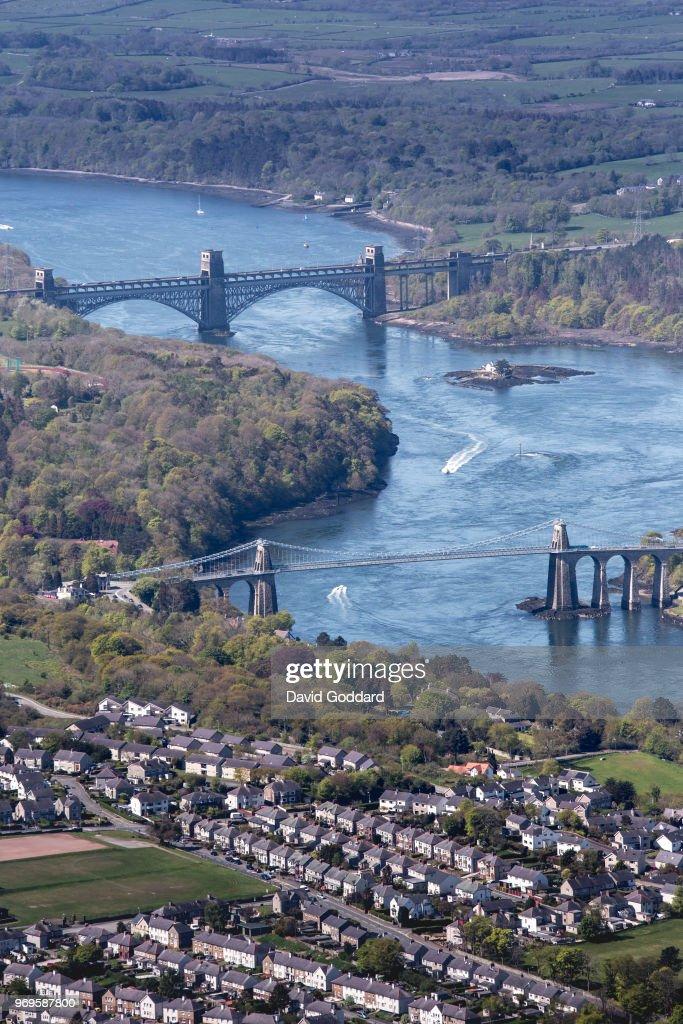 Aerial Photograph of the Britannia Bridge, Anglesey : News Photo
