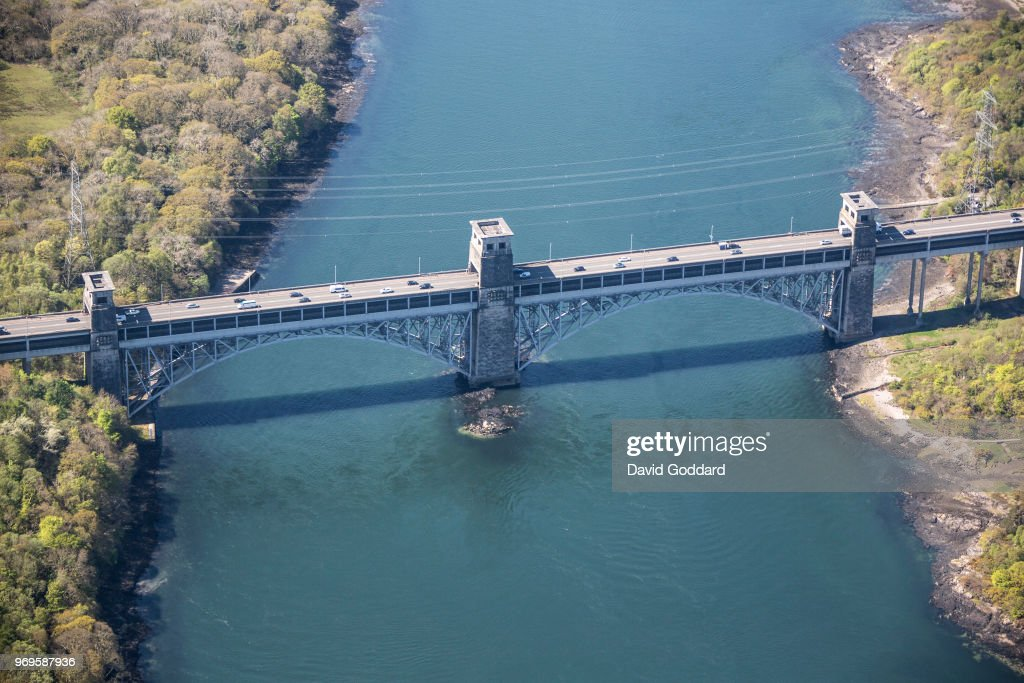 Aerial Photograph of the Britannia Bridge, Anglesey : News Photo