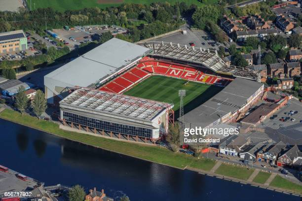 Aerial photograph of the City Ground, home to Nottingham Forest football club on September 19, 2012. Located on the banks of the River Trent...