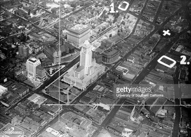 Aerial photograph of the City Hall and surrounding area in Downtown Los Angeles 'The above aerial view contest photo shows the City Hall district and...