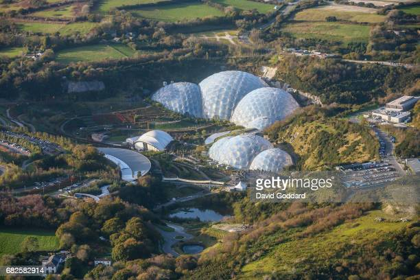 CORNWALL ENGLAND OCTOBER 31 Aerial photograph of the Cornish tourist attraction the Eden Project built in an old clay pit in 2001 designed by...