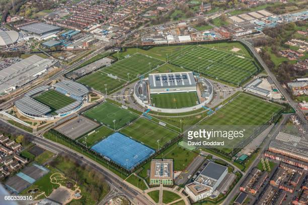 MANCHESTER ENGLAND MARCH 26 Aerial photograph of the Etihad Campus training ground to Manchester city football club and home to Manchester city...