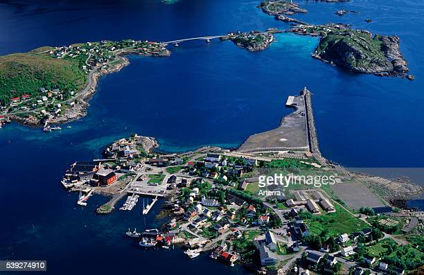 Aerial photograph of the fishing village Reine Moskenes / MoskenesŽya Lofoten Islands Nordland Norway