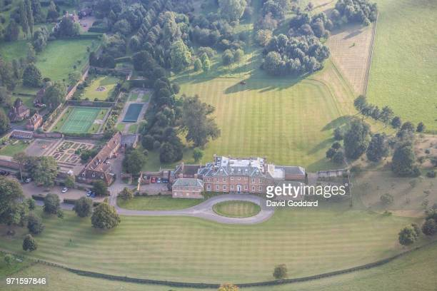 KENT ENGLAND Aerial Photograph of the Godmersham Park located on the western bank of the Great Stour river in the shadow of the North Downs 5 miles...