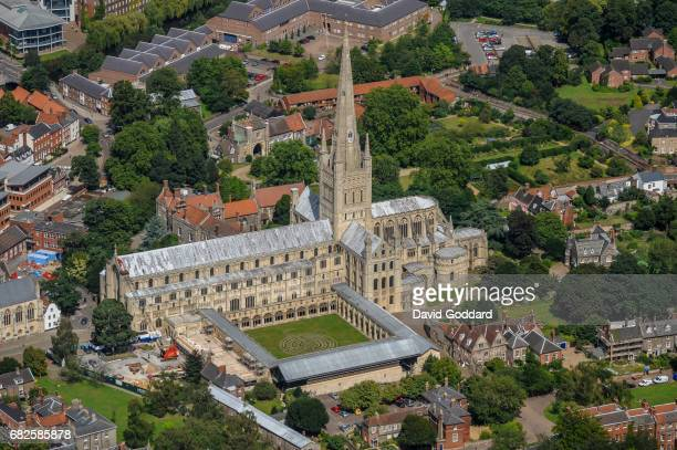 Aerial photograph of the grade 1 listed Norwich Cathedral on August 15, 2010. This Norman Gothic Church dates back to 1096, it is located in the...