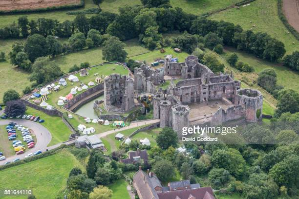 KINGDOM AUGUST 2017 Aerial photograph of the Grade I listed Raglan Castle on August 10 2017 This late medieval castle dates back to 15th century it...